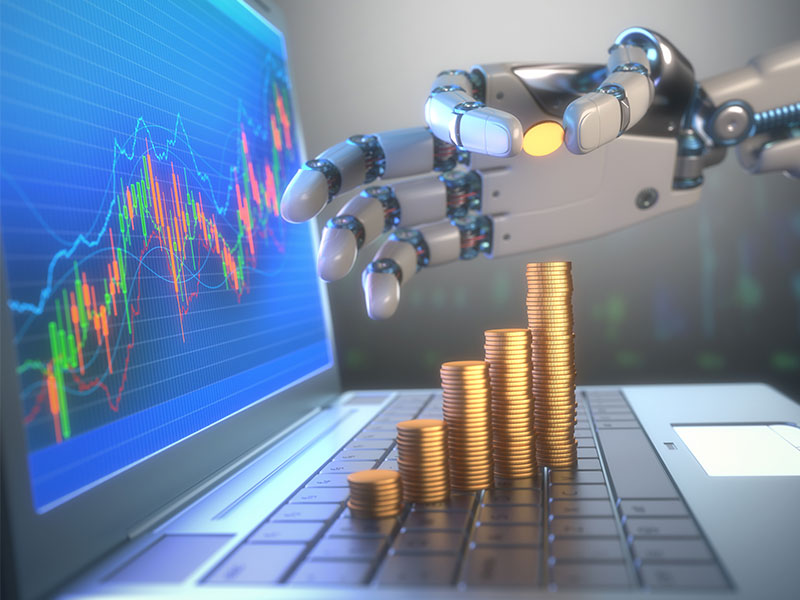 Roboter, Investment, Investition, investieren, Börse, Aktie, Aktienhanel, Wertpapierhandel, automatisch,