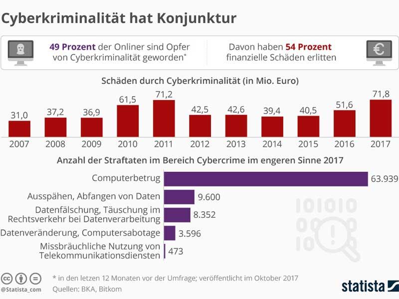 Die Grafik bildet ausgewählte Daten zur Cyberkriminalität in Deutschland ab